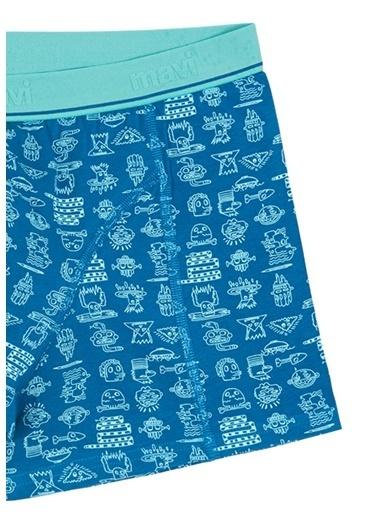 Mavi Desenli Mavi Boxer Petrol